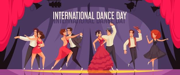 Composizione orizzontale nella giornata internazionale della danza con coppie professionali che eseguono balli da sala sull'illustrazione piana della pista da ballo