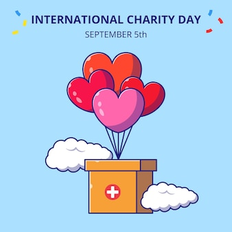 Giornata internazionale della carità scatola volante con paracadute piatto icona del fumetto concetto illustrazione.