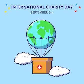 Giornata internazionale della carità scatola volante con paracadute piatto icona del fumetto concetto illustrazione. Vettore Premium