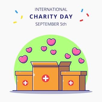 Giornata internazionale della carità con scatola di cuori piatto icona del fumetto concetto illustrazione.
