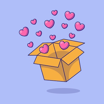 Giornata internazionale della carità con scatola di cuori piatto icona del fumetto concetto illustrazione. Vettore Premium