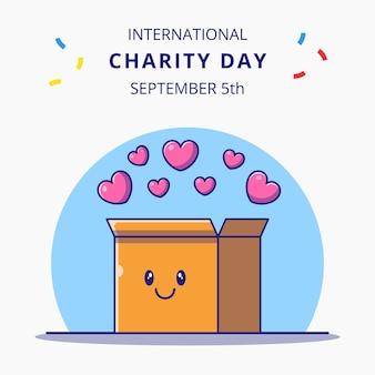 Giornata internazionale della carità con l'illustrazione sveglia dei personaggi dei cartoni animati della scatola dei cuori.