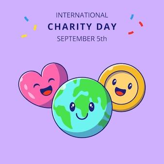 Giornata internazionale della carità con l'illustrazione sveglia dei personaggi dei cartoni animati della terra, dell'amore e dei soldi.