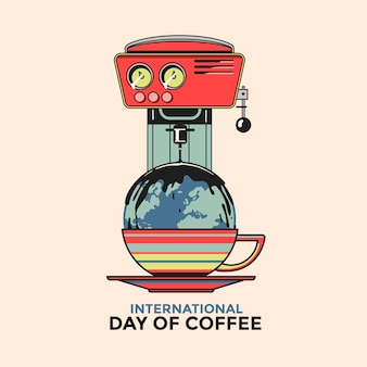 Biglietto di auguri per la giornata internazionale del caffè