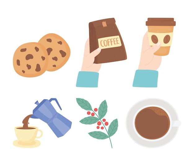 Giornata internazionale del caffè, icone di tazze di ramo di biscotti bollitore