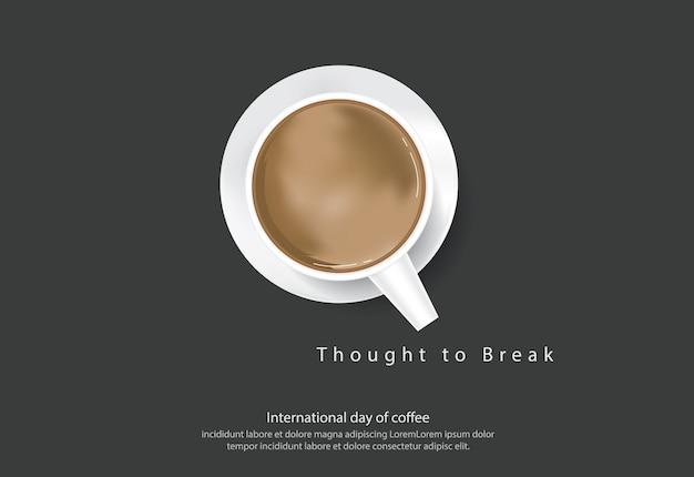 Giornata internazionale del caffè poster pubblicità flayers illustrazione vettoriale