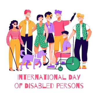 Giornata internazionale delle persone disabili - poster di cartone animato con persone felici Vettore Premium