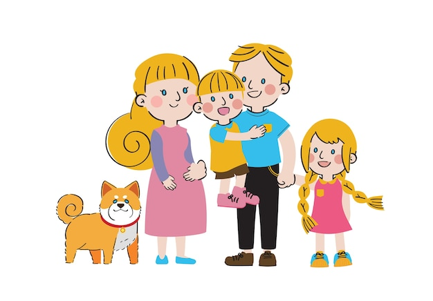Giornata internazionale delle famiglie grande amore dolce solidarietà carattere familiare Vettore Premium