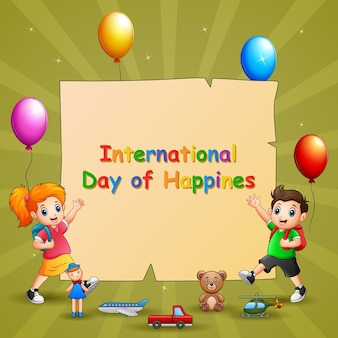 Modello di progettazione giornata internazionale della felicità con bambini e giocattoli