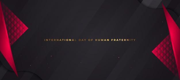 Bandiera di celebrazione della giornata internazionale della fratellanza umana con composizione rossa e nera