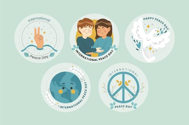 Collezione di etichette della giornata internazionale della pace