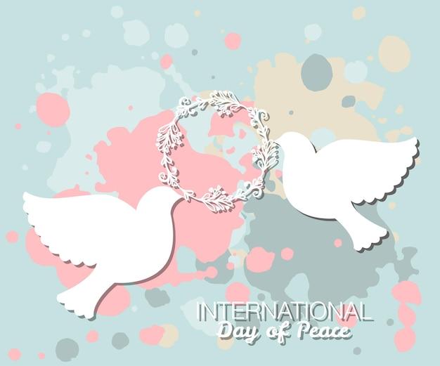 Illustrazione vettoriale della giornata internazionale della pace stile di design piatto icone del giorno della pace cuore di piccione