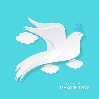 Giornata internazionale della pace. illustrazione di vettore delle colombe del ritaglio del libro bianco.