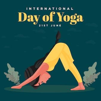 Giornata internazionale del design di banner yoga con donna che fa yoga passo