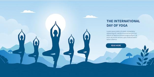 Giornata internazionale dell'insegna di pendenza di concetto di yoga per la pagina di destinazione