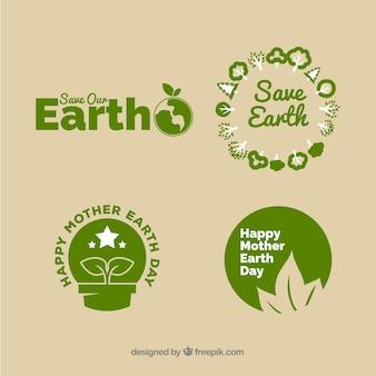 Collezione di distintivi per la giornata internazionale della terra