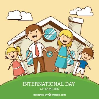 Priorità bassa di giorno di famiglia internazionale con persone felici