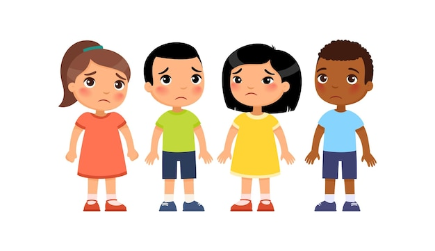 Gruppo internazionale di piccoli bambini tristi punizione per cattivo comportamento simpatici personaggi dei cartoni animati