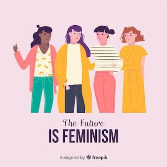 Gruppo internazionale di donne con design piatto