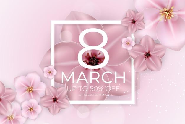 Banner di vendita internazionale per la giornata della donna felice 8 marzo.