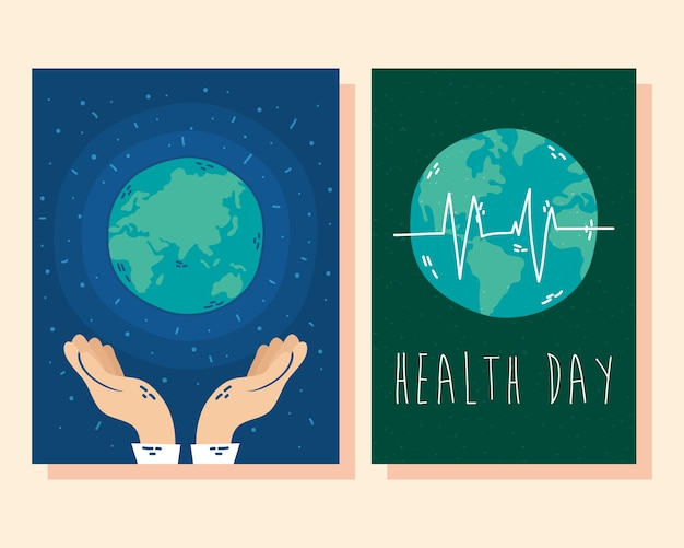 Carta di giornata internazionale della salute con pianeta terra e impulso cardiologico