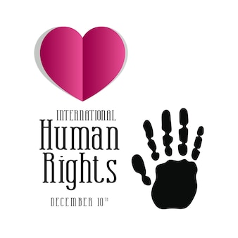 Diritti umani internazionali e stampa a mano nera con disegno a cuore rosa, tema 10 dicembre.