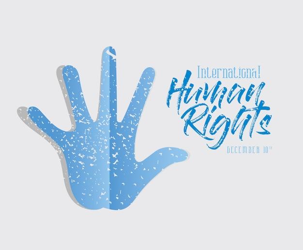 Diritti umani internazionali e design di stampa a mano blu, tema del 10 dicembre.