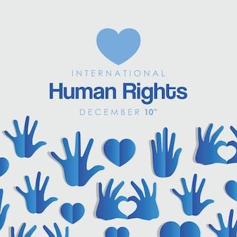 Diritti umani internazionali e mani blu con design a cuori, tema 10 dicembre.