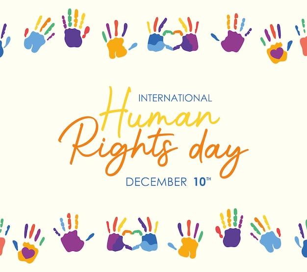 Design internazionale delle stampe dei diritti umani e delle mani colorate, tema del 10 dicembre.