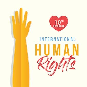 Diritti umani internazionali e mano in su con il disegno del cuore, tema del 10 dicembre.