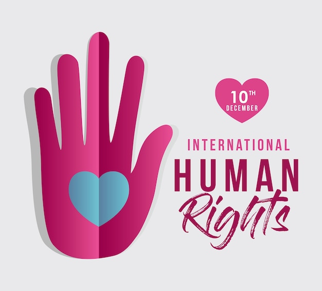 Diritti umani internazionali e mano con disegno a cuore, tema 10 dicembre.