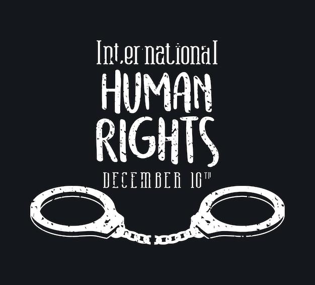 Design internazionale dei diritti umani e delle manette, tema 10 dicembre.