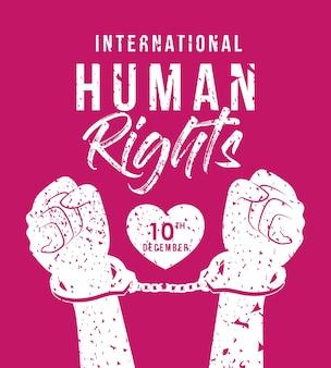 Design internazionale dei diritti umani e delle mani con polsini, tema 10 dicembre.