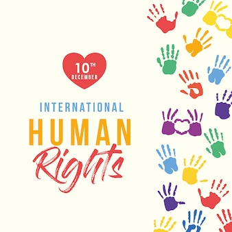 Il cuore internazionale dei diritti umani e le mani colorate stampano il design, il tema del 10 dicembre.