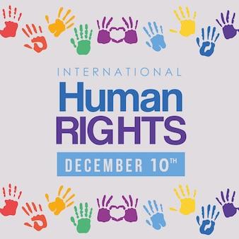 Design di stampe internazionali sui diritti umani e mani multicolori, tema 10 dicembre.