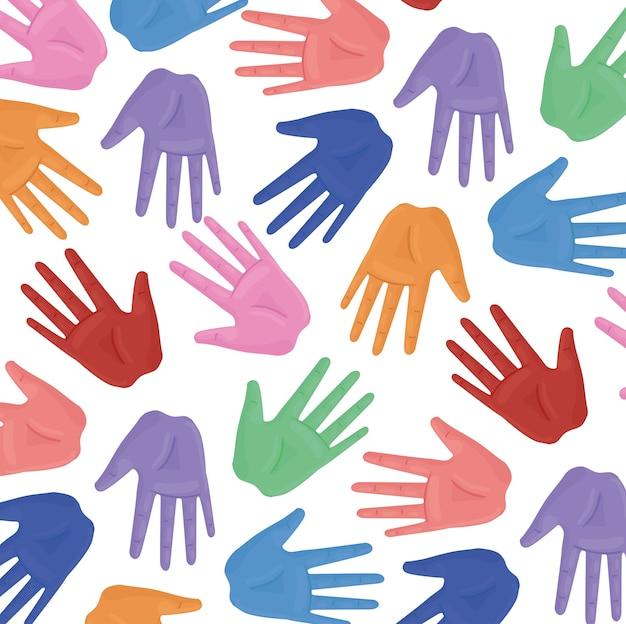 Poster internazionale sui diritti umani con disegno di illustrazione di colori di stampa delle mani