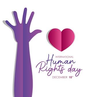 Diritti umani internazionali e mano viola con disegno a cuore, tema 10 dicembre.