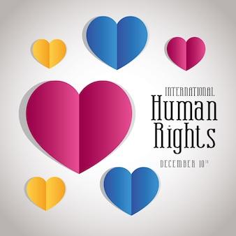 Diritti umani internazionali con design a cuori, tema 10 dicembre.