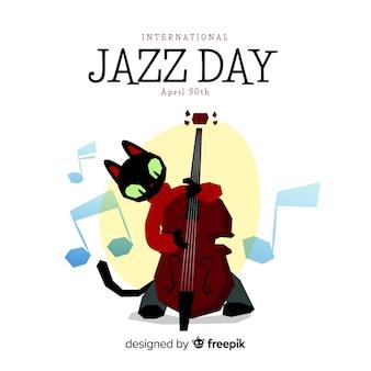 Sfondo del giorno jazz internazionale Vettore Premium
