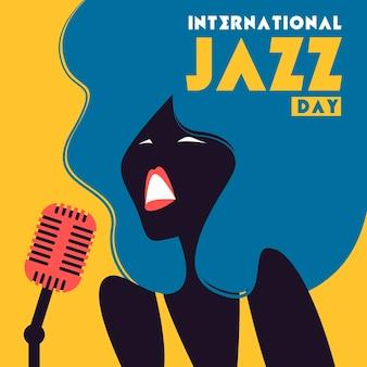 Illustrazione di giornata internazionale del jazz con canto della donna