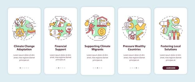 Schermata della pagina dell'app mobile di onboarding della giustizia internazionale con concetti