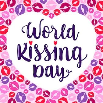 Lettering del giorno del bacio internazionale