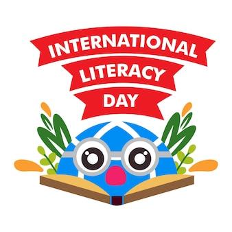 Progettazione dell'illustrazione del libro di illustrazione della giornata internazionale dell'alfabetizzazione