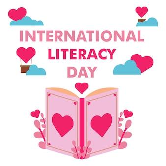 Illustrazione della giornata internazionale dell'alfabetizzazione. concetto di design dell'illustrazione del libro romantico
