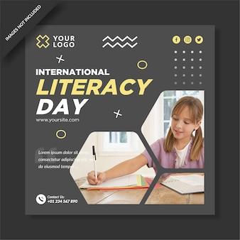 Modello di post instagram per la giornata internazionale dell'alfabetizzazione