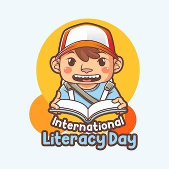 Giornata internazionale dell'alfabetizzazione o poster con illustrazione del libro di lettura del ragazzino