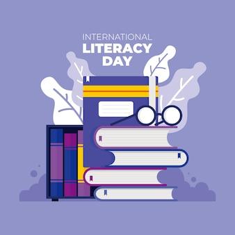 Vettore della giornata internazionale dell'alfabetizzazione. mostra utilizzando un design creativo che l'alfabetizzazione è un ponte dalla miseria alla speranza!