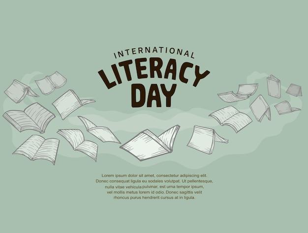 Giornata internazionale dell'alfabetizzazione con libri volanti isolati su sfondo verde morbido