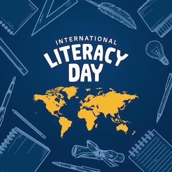 Giornata internazionale dell'alfabetizzazione con elemento disegnato a mano isolato su sfondo blu