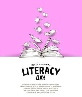 Giornata internazionale dell'alfabetizzazione con libro aperto e sfondo rosa libro volante